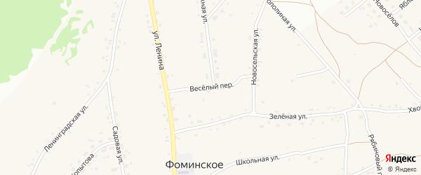 Веселый переулок на карте Фоминского села с номерами домов