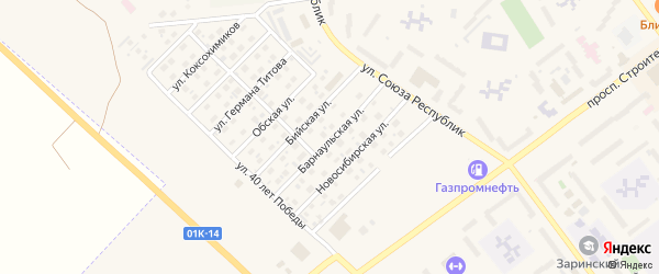 Барнаульская улица на карте Заринска с номерами домов
