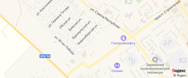 Московская улица на карте Заринска с номерами домов