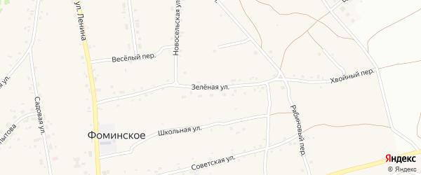 Зеленая улица на карте Фоминского села с номерами домов
