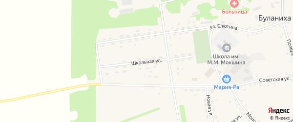 Школьная улица на карте села Буланихи с номерами домов