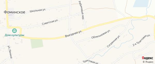 Въездная улица на карте Фоминского села с номерами домов