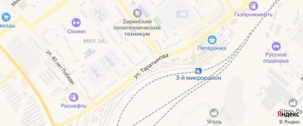 Улица Таратынова на карте Заринска с номерами домов
