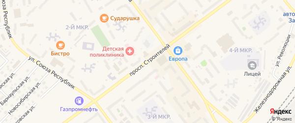 Проспект Строителей на карте Заринска с номерами домов