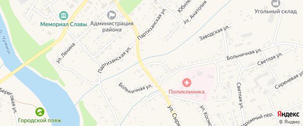 Больничный переулок на карте Заринска с номерами домов
