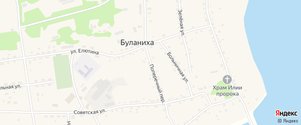 Поперечный переулок на карте села Буланихи с номерами домов