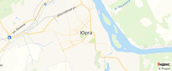 Карта Юрги с районами, улицами и номерами домов