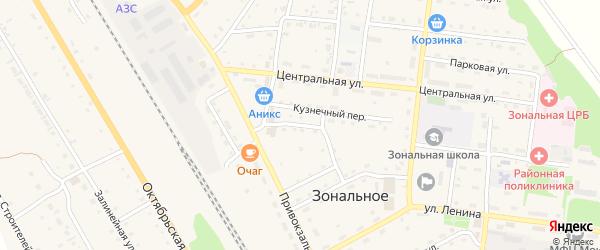 Короткий переулок на карте Зонального села с номерами домов