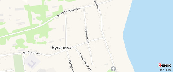 Зеленая улица на карте села Буланихи с номерами домов