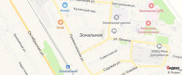 Комсомольский переулок на карте Зонального села с номерами домов