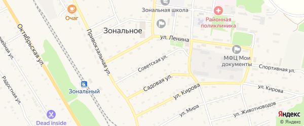 Советская улица на карте Зонального села с номерами домов