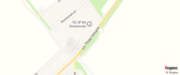 Улица Подстанция на карте Зонального села с номерами домов