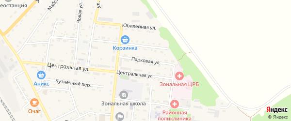 Парковая улица на карте Зонального села с номерами домов
