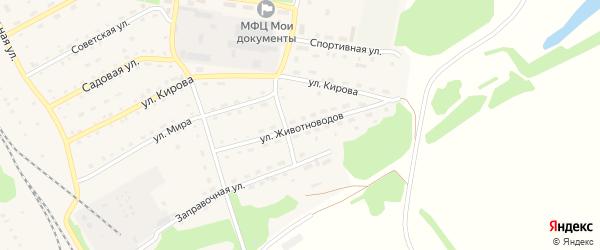 Улица Животноводов на карте Зонального села с номерами домов