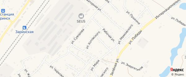 Улица Котовского на карте Заринска с номерами домов