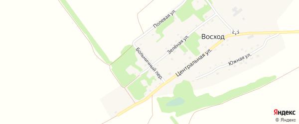 Больничный переулок на карте поселка Восхода с номерами домов