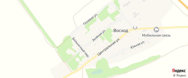 Зеленая улица на карте поселка Восхода с номерами домов
