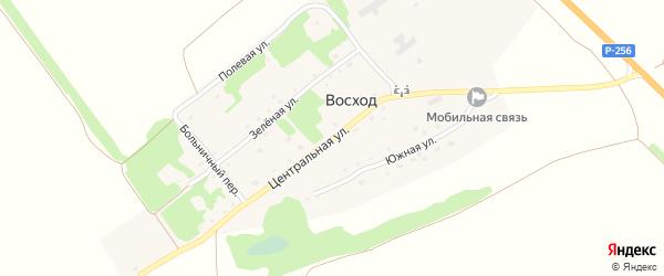 Центральная улица на карте поселка Восхода с номерами домов