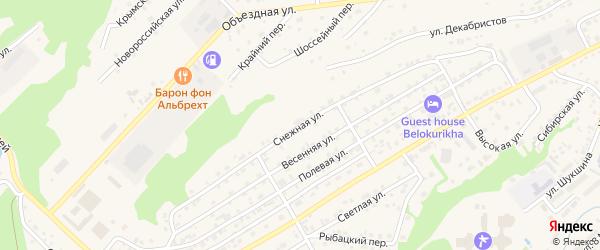 Снежная улица на карте Белокурихи с номерами домов