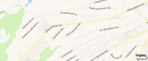 Шоссейный переулок на карте Белокурихи с номерами домов