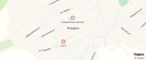 Солнечная улица на карте села Кордона с номерами домов