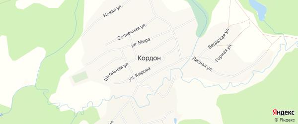 Карта села Кордона в Алтайском крае с улицами и номерами домов