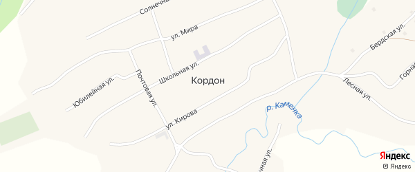 Гаражная улица на карте села Кордона с номерами домов