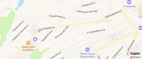 Поперечный переулок на карте Белокурихи с номерами домов