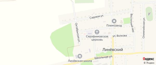 Октябрьская улица на карте Линевского поселка с номерами домов