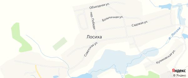 Карта села Лосихи в Алтайском крае с улицами и номерами домов