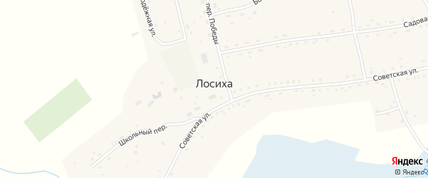 Романовский переулок на карте села Лосихи с номерами домов