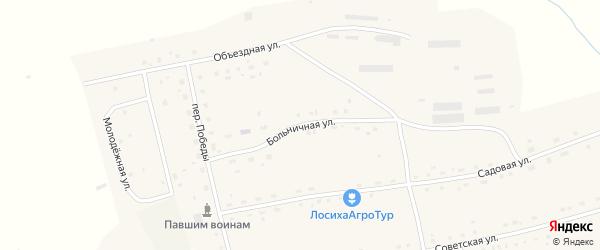 Больничная улица на карте села Лосихи с номерами домов