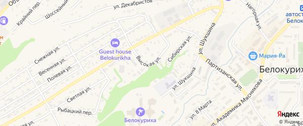 Высокая улица на карте Белокурихи с номерами домов