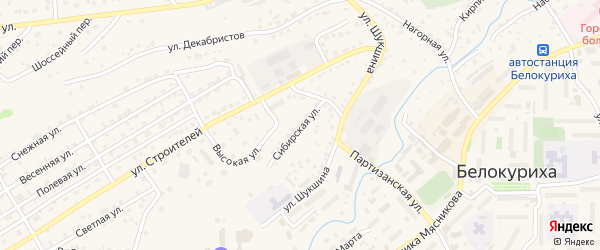 Сибирская улица на карте Белокурихи с номерами домов