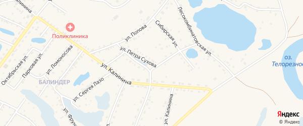 Улица Петра Сухова на карте Заринска с номерами домов
