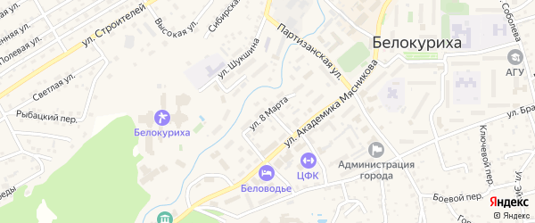 Улица 8 Марта на карте Белокурихи с номерами домов