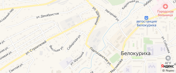 Улица Шукшина на карте Белокурихи с номерами домов