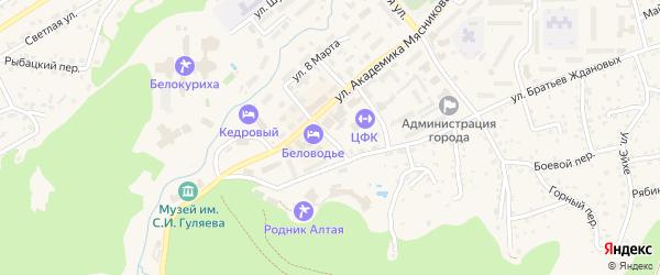 Пролетарский переулок на карте Белокурихи с номерами домов