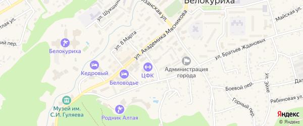 Спортивный переулок на карте Белокурихи с номерами домов