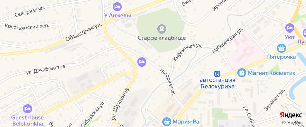 Нагорная улица на карте Белокурихи с номерами домов