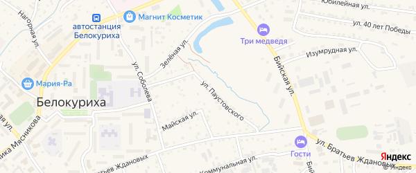 Улица Паустовского на карте Белокурихи с номерами домов