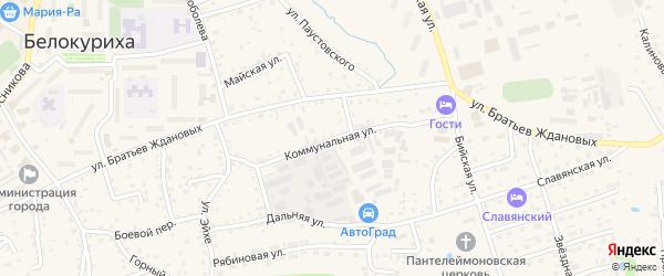 Коммунальная улица на карте Белокурихи с номерами домов