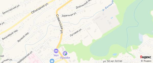 Луговая улица на карте Белокурихи с номерами домов