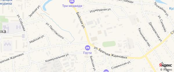 Бийская улица на карте Белокурихи с номерами домов