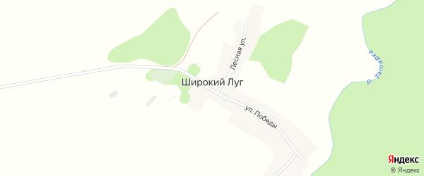 Улица Победы на карте поселка Широкого Луга с номерами домов
