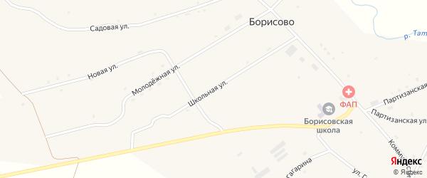 Школьная улица на карте села Борисово с номерами домов