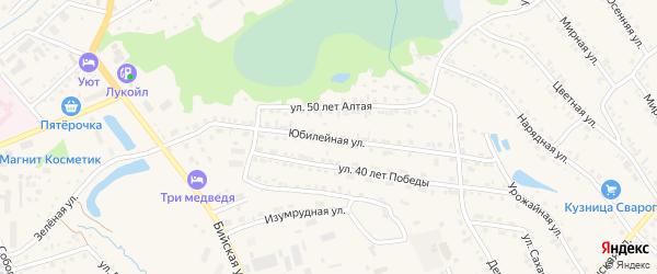 Юбилейная улица на карте Белокурихи с номерами домов