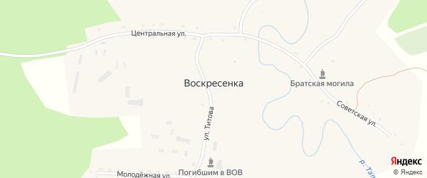 Центральная улица на карте села Воскресенки с номерами домов
