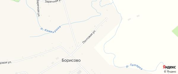Почтовая улица на карте села Борисово с номерами домов