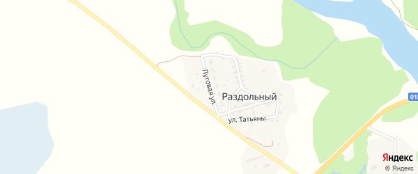 Луговая улица на карте Раздольного поселка с номерами домов